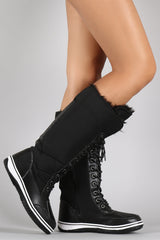 Puffy Nylon Lace Up Knee High Duck Boots