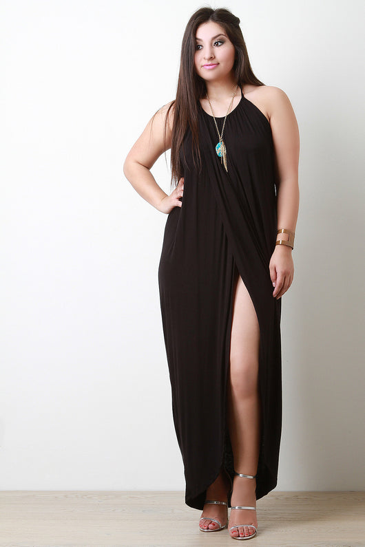 Halter Front Slit Maxi Dress