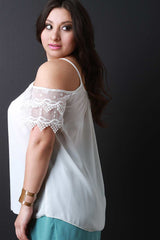Lace Short Sleeves Cold Shoulder Top