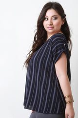Vertical Stripe Button Accent Top