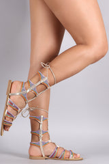 Beadwork Strappy Lace Up Gladiator Flat Sandal