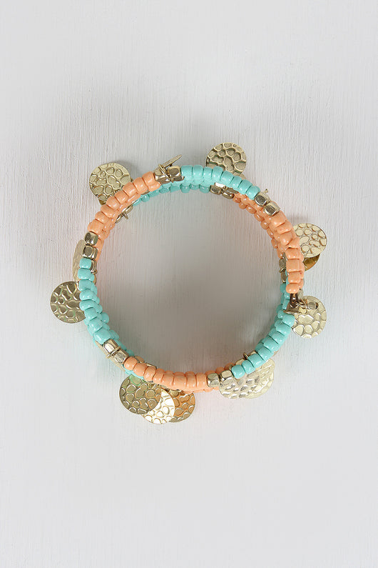 Beaded Wire Coil Bracelet
