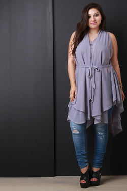 Chiffon Sleeveless Tie Waist Asymmetric Tunic Top