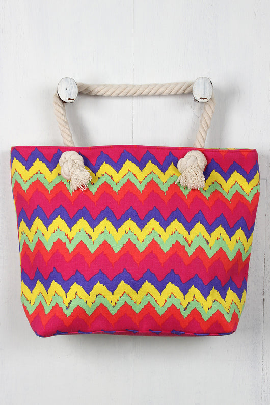 Colorful Chevron Braided Strap Tote Bag