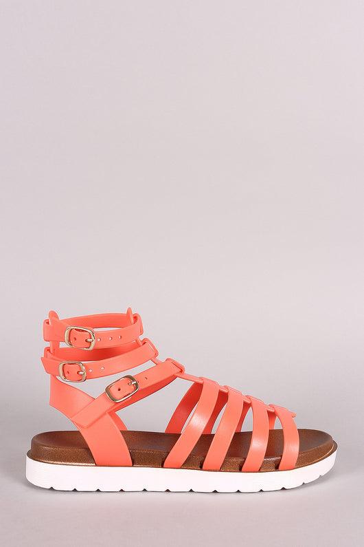 Buckled Gladiator Jelly Footbed Flat Sandal