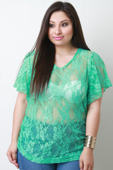 V-neck Floral Lace Pattern Top