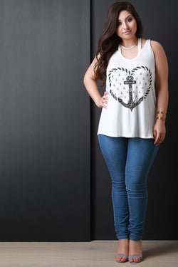 Anchor Heart Cut Out Sleeveless Top