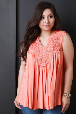 Crochet Lace Sleeveless Gathered Top