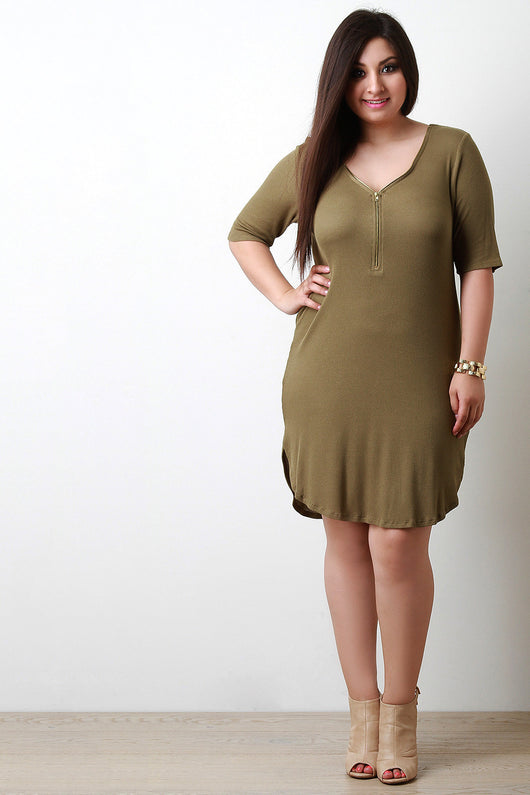 Adjustable Zip Neckline Thermal Knit Dress