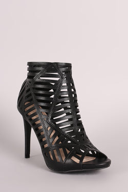 Anne Michelle Caged Peep Toe Stiletto Heel
