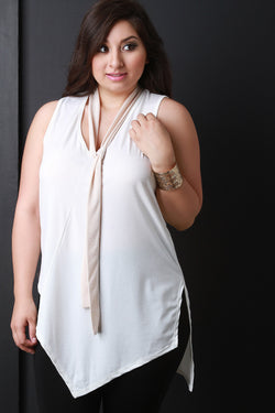 Contrast Neck Tie Angled Hem Sleeveless Top