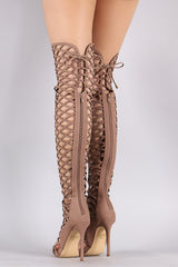 Back Lace-Up Geo Cutout Over-The-Knee Stiletto Boots