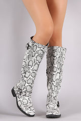 Python Buckled Riding Knee High Boots
