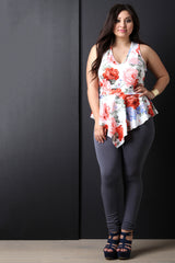 Floral Print V-Neck Asymmetrical Peplum Top