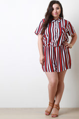 Chiffon Striped Button-Up Short Sleeve Romper