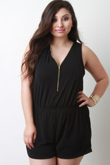 Metal Zipper Neckline Sleeveless Romper