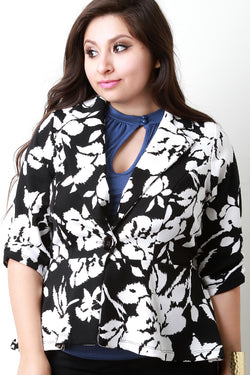 Abstract Floral Print Single Button Blazer