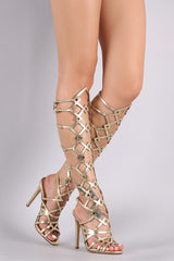 Caged Cutout Open Toe Gladiator Heel