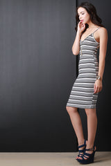 Horizontal Stripe Sleeveless Midi Dress