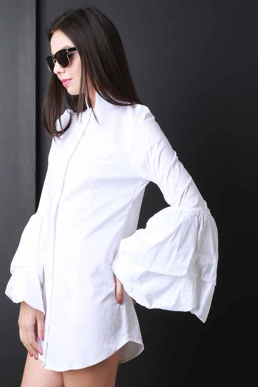 Bell Sleeve Button Up Shirt Dress