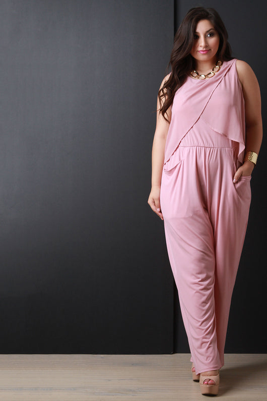 Sleeveless Chiffon Overlay Jumpsuit