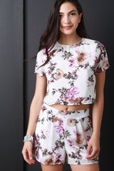 Floral Printed Chiffon Crop Top
