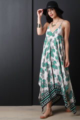Flowing Paisley Handkerchief Maxi Dress