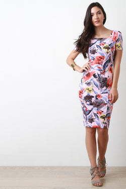 Floral Square Neck Midi Dress