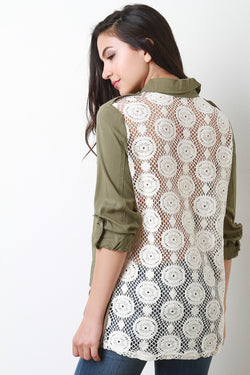 Crochet Back Multi-Pocket Top