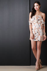 Cherry Blossom Off The Shoulder Mini Dress