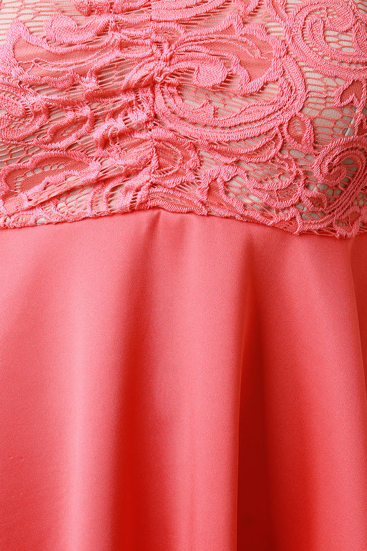 Lace Bodice Sleeveless Angle Hem Fit And Flare Dress