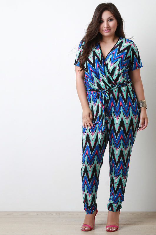 Chevron Surplice Short Sleeve Jumpsuit