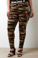 Camo Knee Slit Leggings