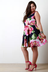 Floral Printed Crisscross V-Neck Skater Dress