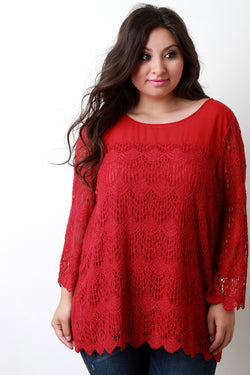 Contrast Semi-Sheer Crochet Lace Long Sleeve Top