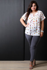 Refreshments Print Pocketed Placket Top