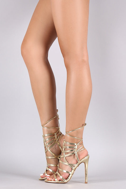 Metallic Caged Back Lace-Up Stiletto Heel