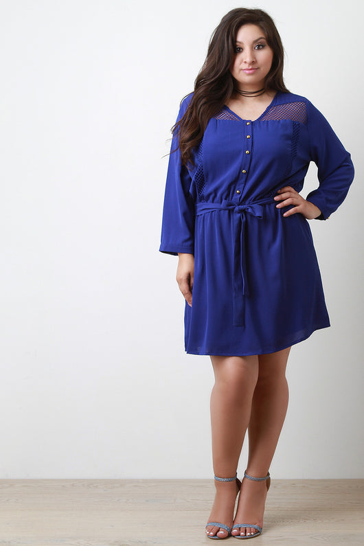 Mesh Panel Button-Up Long Sleeve Dress