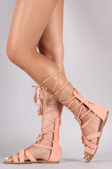 Qupid Strappy Braided O-Ring Gladiator Flat Sandal
