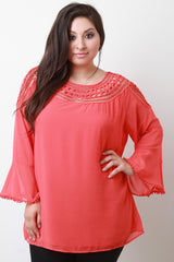 Macrame Collar Long Sleeve Top