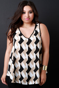 Contrast Geo Pattern V-Neck Top