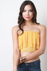 Tiered Ruffle Chiffon Strapless Crop Top