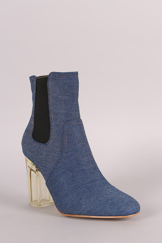 Denim Clear Chunky Heeled Ankle Boots