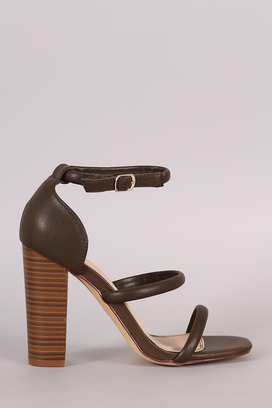 Liliana Triple Straps Open Toe Chunky Heel