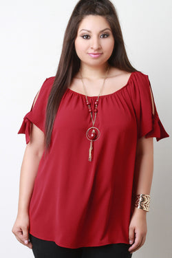 Cold Shoulder Knotted-Tie Necklace Blouse Top