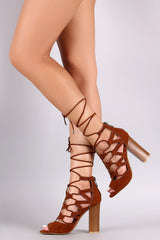 Bamboo Double Side Lace Up Chunky Heel