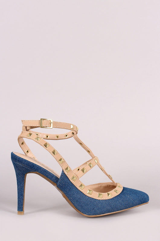 Bamboo Pointy Toe Studded Cage Pump