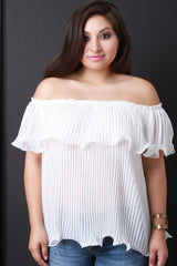Chiffon Off The Shoulder Pleated Ruffle Blouse