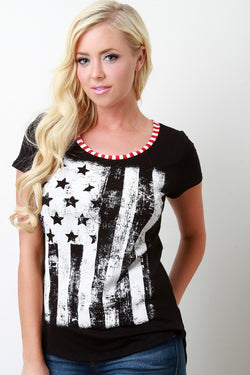 American Flag Graphic Print Tee