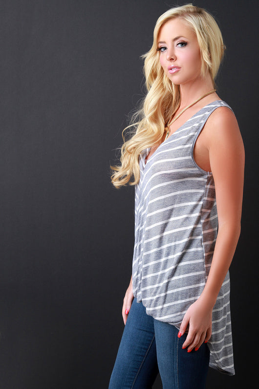 Striped Deep V Twisted Drape High Low Top